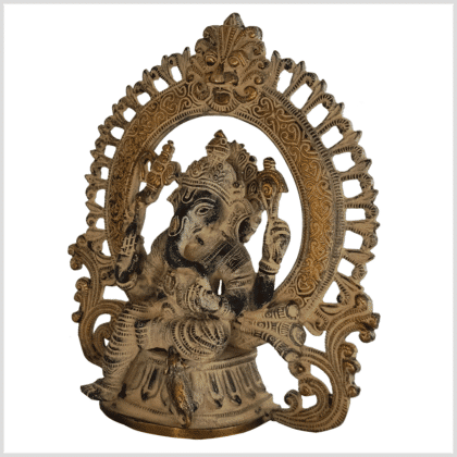 Ganesha Statue Messing schwarzgold antik 23cm links