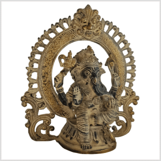 Ganesha Statue Messing schwarzgold antik 23cm rechts