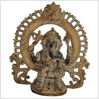 Ganesha Statue Messing schwarzgold antik 23cm vorne