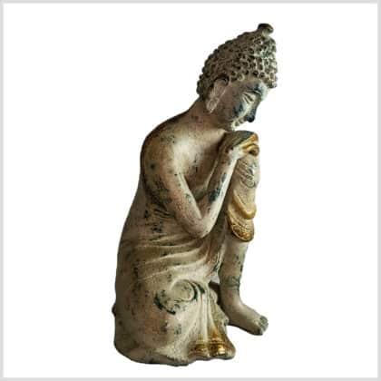 Ruhender Buddha 20cm 2,5kg Messing grüngold Seite rechts