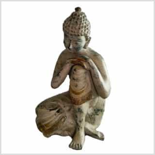 Ruhender Buddha 20cm 2,5kg Messing grüngold Vorderseite