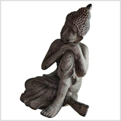 Ruhender Buddha auf Knie 5,7kg steingrau Seite links