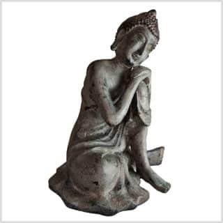 Ruhender Buddha auf Knie 5,7kg steingrau Seite rechts