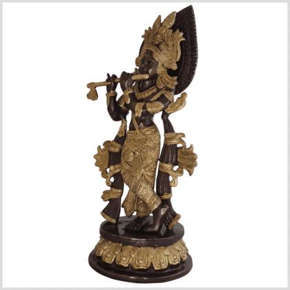 Krishna Messing verkupfert 34cm Seite links