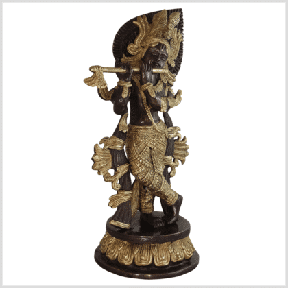 Krishna Messing verkupfert 34cm Seite rechts
