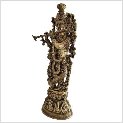 Krishna Lotus 51cm 8kg Messing Seite links