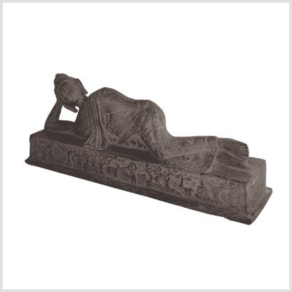 Liegender Buddha steingrau 30cm links