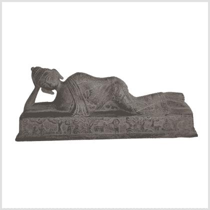Liegender Buddha steingrau 30cm vorne