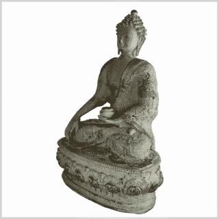 Erdender Buddha 33cm hellgrün antik Seite links
