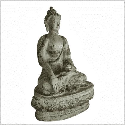 Erdender Buddha 33cm hellgrün antik Seite rechts