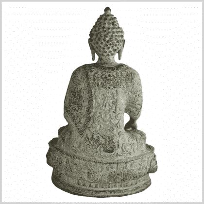 Erdender Buddha 33cm hellgrün antik hinten