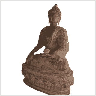 Erdender Buddha 33cm Life Buddha rostbraun links