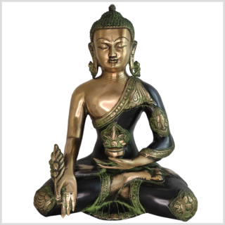 Medizinbuddha Ashtamangala 6kg antikgrün vorne