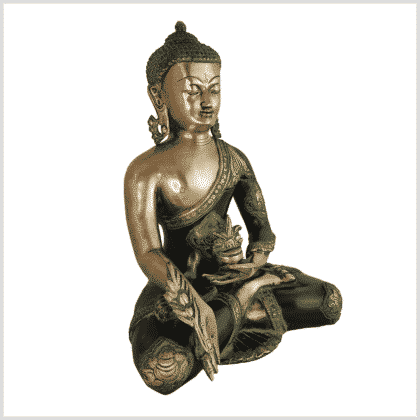 Medizinbuddha Ashtamangala 6kg antikgrün Seite rechts