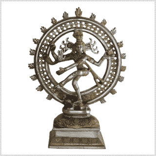Shiva Nataraja Messing versilbert 31cm 2,9kg Vorne