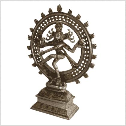 Shiva Nataraja Messing versilbert 31cm 2,9kg Seite links
