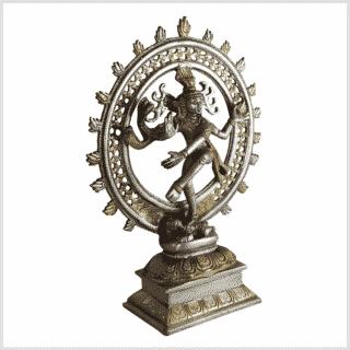 Shiva Nataraja Messing versilbert 31cm 2,9kg Seite rechts