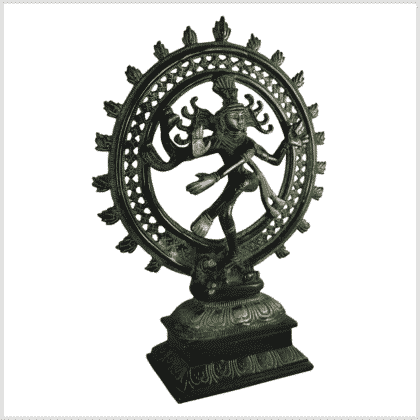 Shiva Nataraja Messing grünantik 31cm Seite rechts