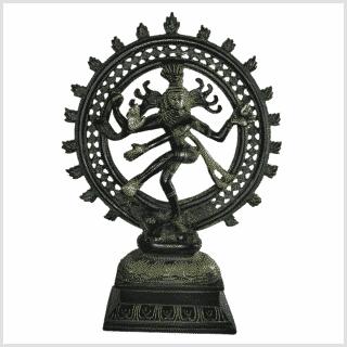 Shiva Nataraja Messing grünantik 31cm vorne