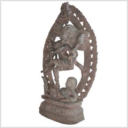 Shiva Nataraja 41cm Messing steingrau Seite links