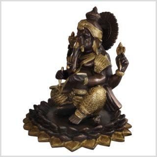 Ganesha mit Buch Messing verkupfert Vorderansicht links