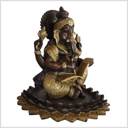 Ganesha mit Buch Messing verkupfert Vorderansicht rechts