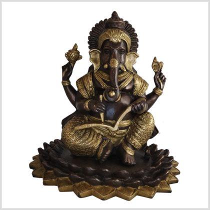 Ganesha mit Buch Messing verkupfert Vorderansicht