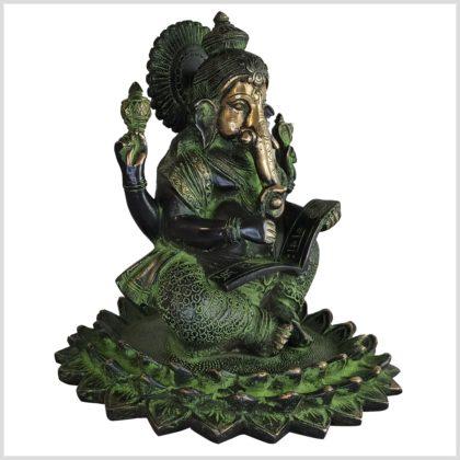 Ganesha Lotus 21cm 4kg Messing Seite