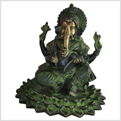 Ganesha Lotus 21cm 4kg Messing antik