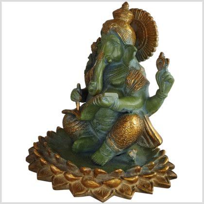 Ganesha 21cm 4kg heilige Schrift antikgrün Seite links