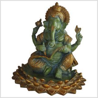 Ganesha 21cm 4kg heilige Schrift antikgrün vorne