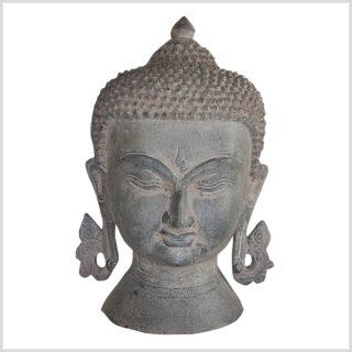 Buddhakopf Messing steingrau 20cm