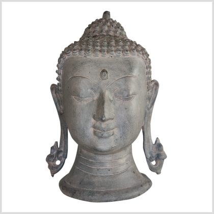 Buddhakopf Messing steingrau 28cm