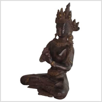 Dharmachakra Buddha dunkelviolett Pattina Handarbeit 26cm Seite links