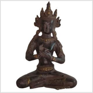 Dharmachakra Buddha dunkelviolett Pattina Handarbeit 26cm vorne