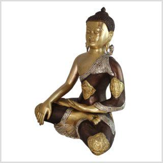 Erdender Buddha Messing Tricolore Ashtamangala Seite links