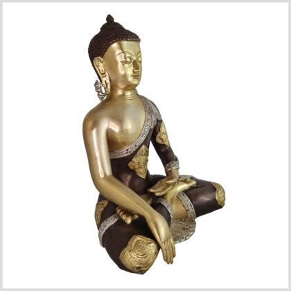 Erdender Buddha Messing Tricolore Ashtamangala Seite rechts
