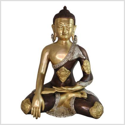 Erdender Buddha Messing Tricolore Ashtamangala vorne