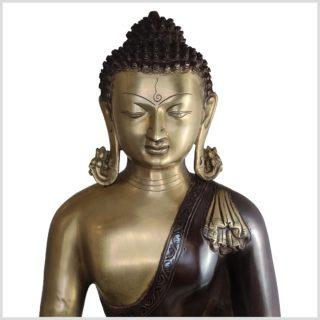 Kundal-Erdender-Buddha-15kg-51cm-Messing-Aubergine-Nahansicht