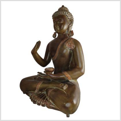 Segnender Buddha 51cm Kundal Messing braunantik Seite links