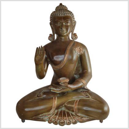 Segnender Buddha 51cm Kundal Messing braunantik Vordderseite