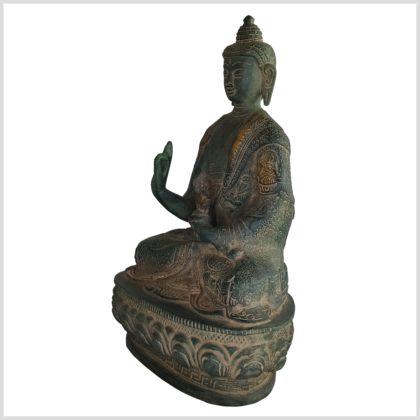 Lehrender Buddha Messing antikgrün 20,5cm 1,5kg Seite links