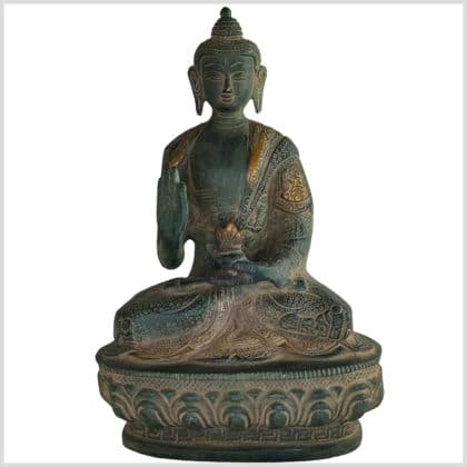 Lehrender Buddha Messing antikgrün 20,5cm 1,5kg vorne
