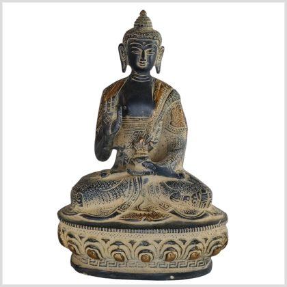 Lehrender Buddha Messing schwarzantik 1,5kg 20,5cm Vorderseite