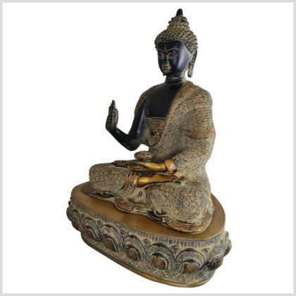 Lehrender Buddha Vitarka Mudra Messing schwarzantik 41cm Seite links