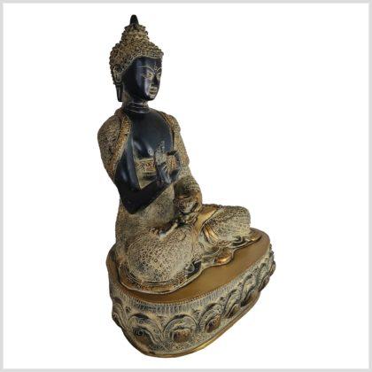 Lehrender Buddha Vitarka Mudra Messing schwarzantik 41cm Seite rechts