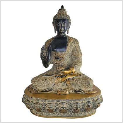 Lehrender Buddha Vitarka Mudra Messing schwarzantik 41cm Vorne