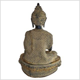 Lehrender Buddha Vitarka Mudra Messing schwarzantik 41cm hinten