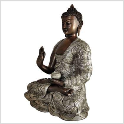 Lehrender Buddha Lifebuddha Kupfersilber 29cm 6kg links