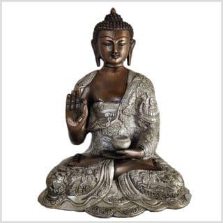 Lehrender Buddha Lifebuddha Kupfersilber 29cm 6kg Vorne